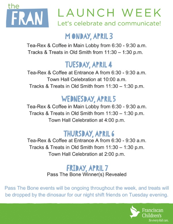 TheFRAN - Launch Week Schedule