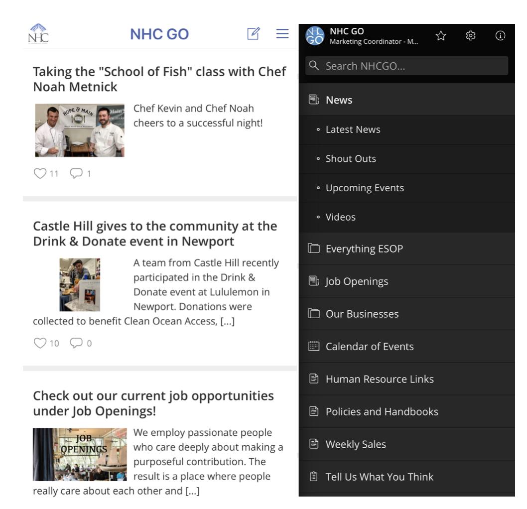 NHC GO employee app staffbase