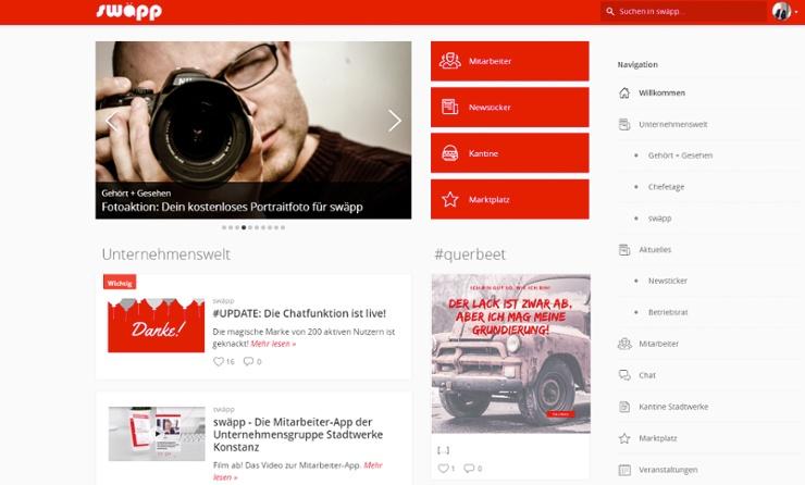 Desktop Version Mitarbeiter-App swäpp