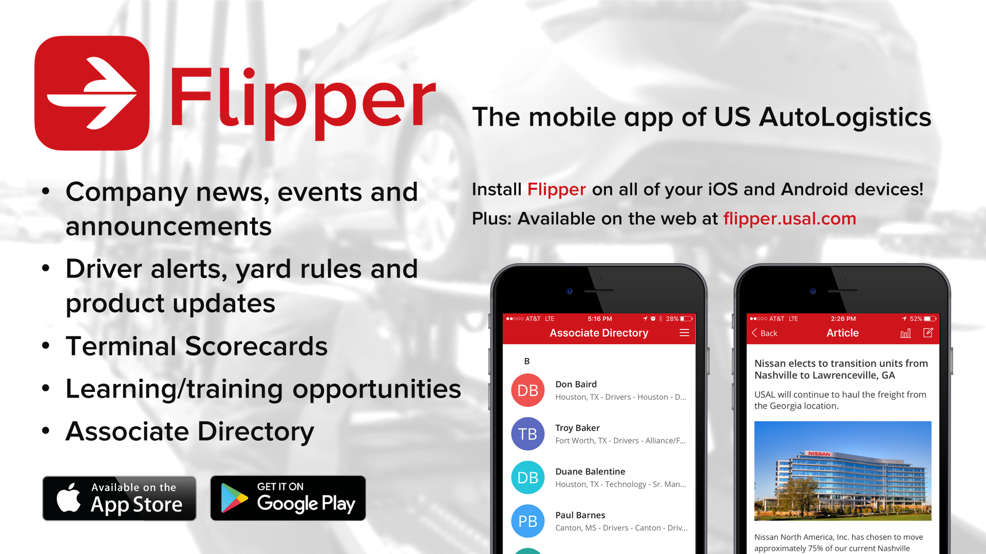 USAL employee app Flipper internal communication