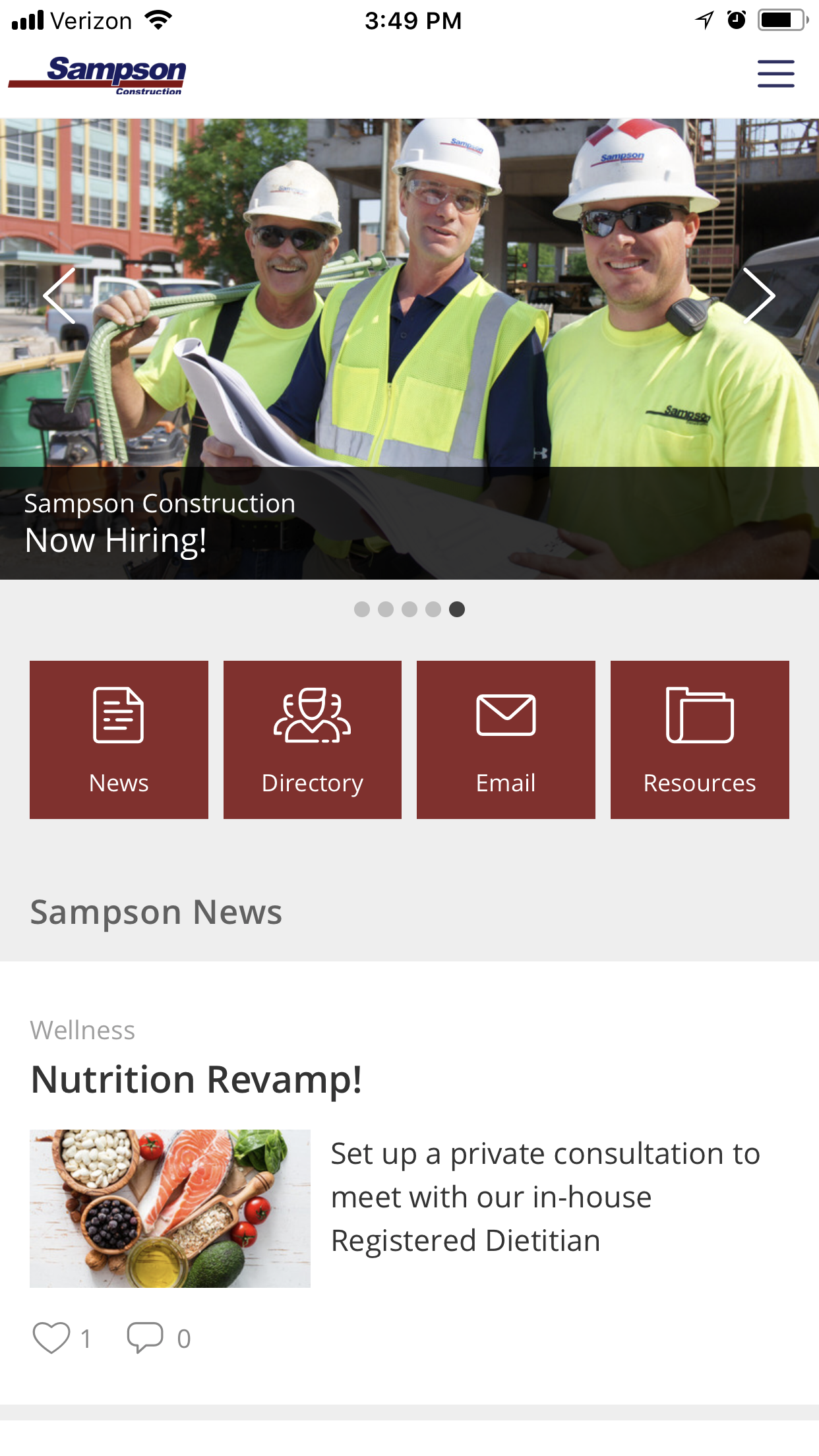 Samson Construction mobile app