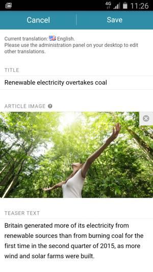 Communications app news editing