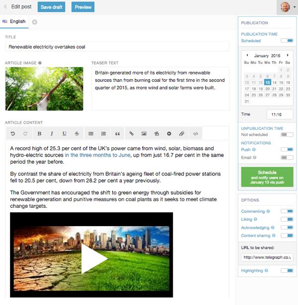 Intranet cms editing view