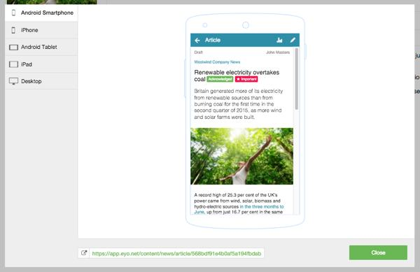 Intranet cms preview screen
