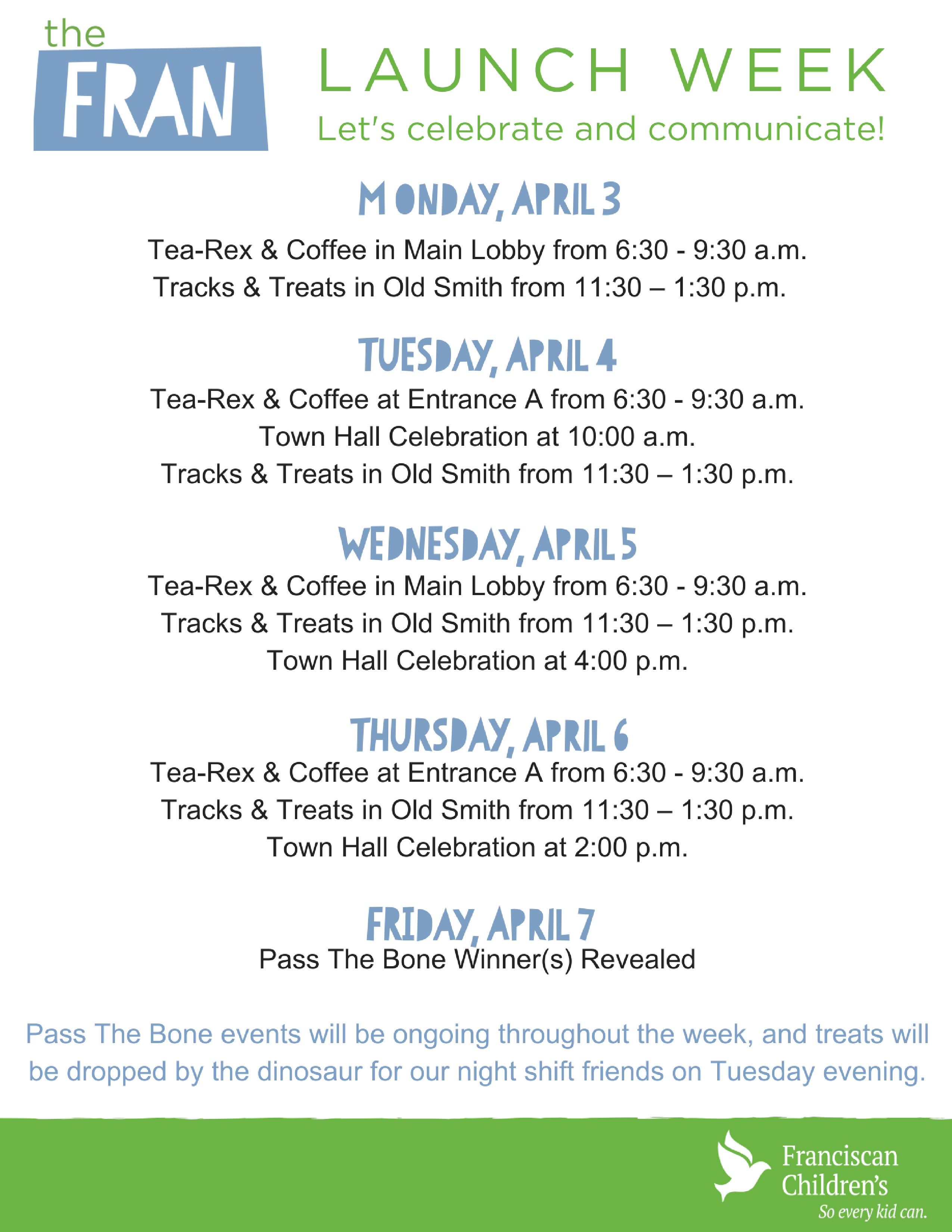 TheFRAN - Launch Week Schedule.png