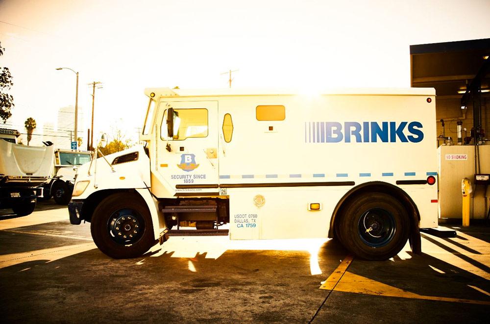 Brink's truck, Brink's employee app, Employee recognition