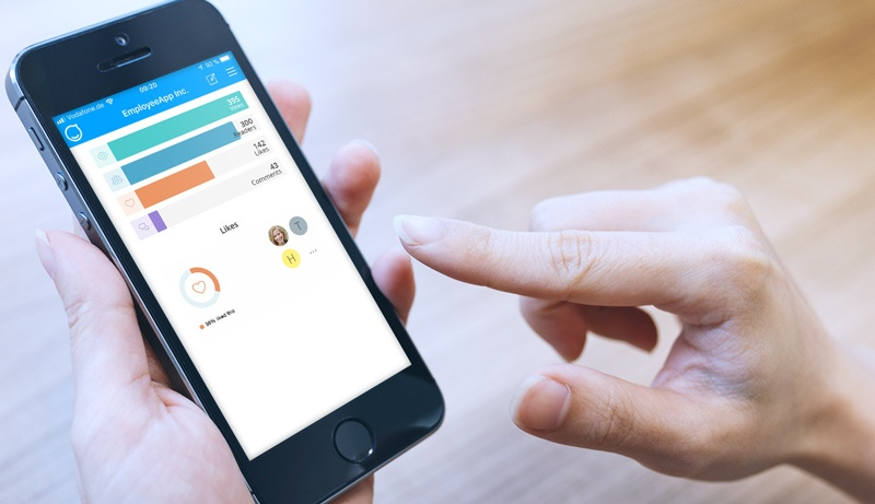 Mobile analytics in the Staffbase employee app.